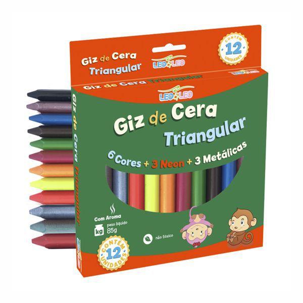 Giz de Cera Big Triangular 6 Cores + 3 Neon + 3 Metálicas Leo e Leo