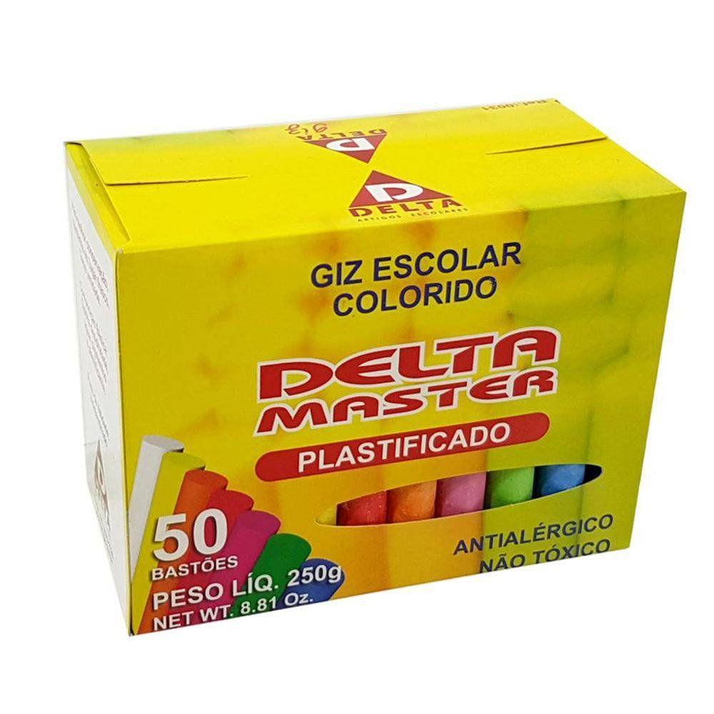 Giz Escolar Plastificado Colorido Caixa com 50 unidades Delta