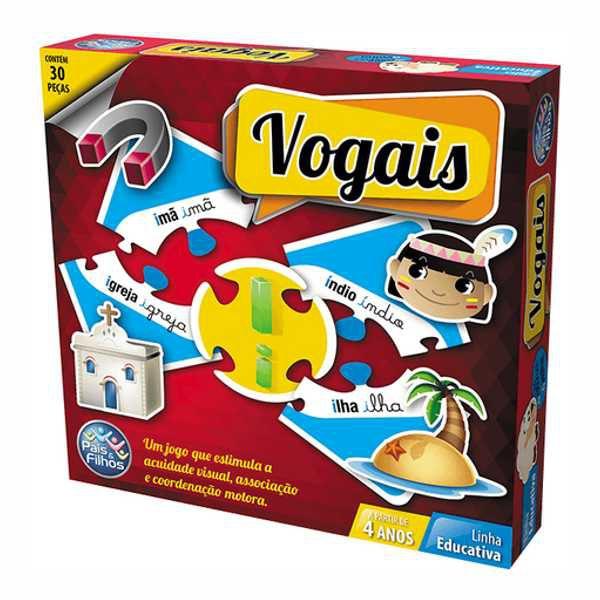 Jogo Vogais 30 Peças Brinquedo Educativo Pais e Filhos