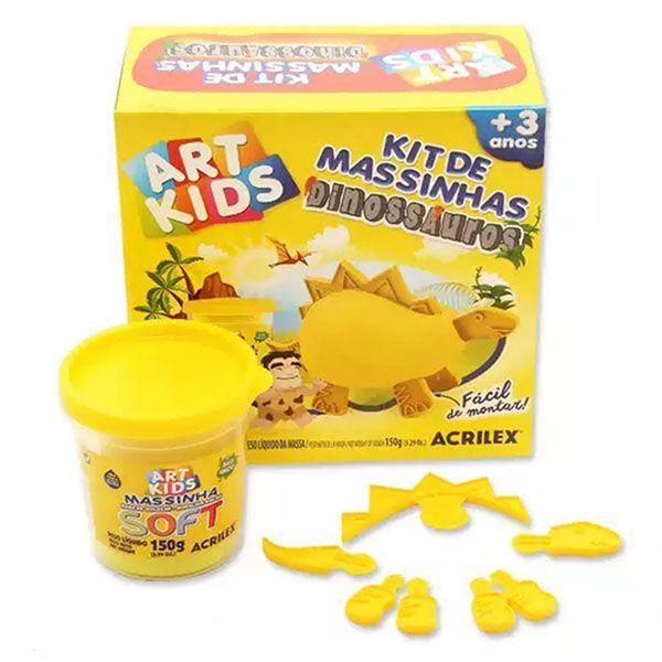 Kit de Massinhas Dinossauros 150g Amarelo Acrilex
