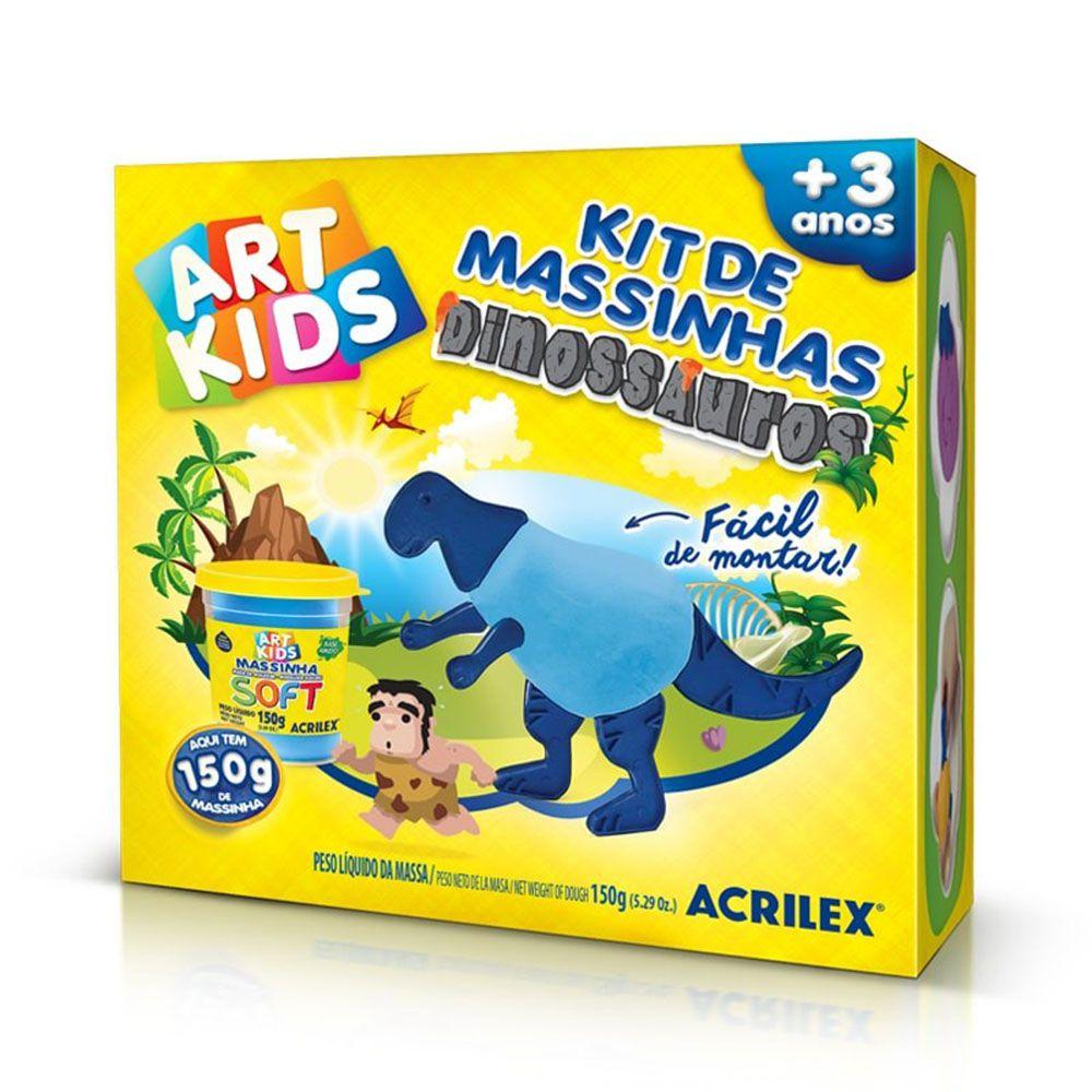 Kit de Massinhas Dinossauros 150g Azul Acrilex  - INK House