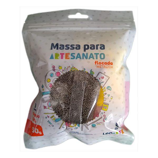 Kit Massa para Artesanato Flocada Metálica 50g Leonora