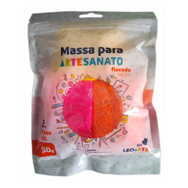 Kit Massa para Artesanato Flocada Neon 50g Leonora  - INK House