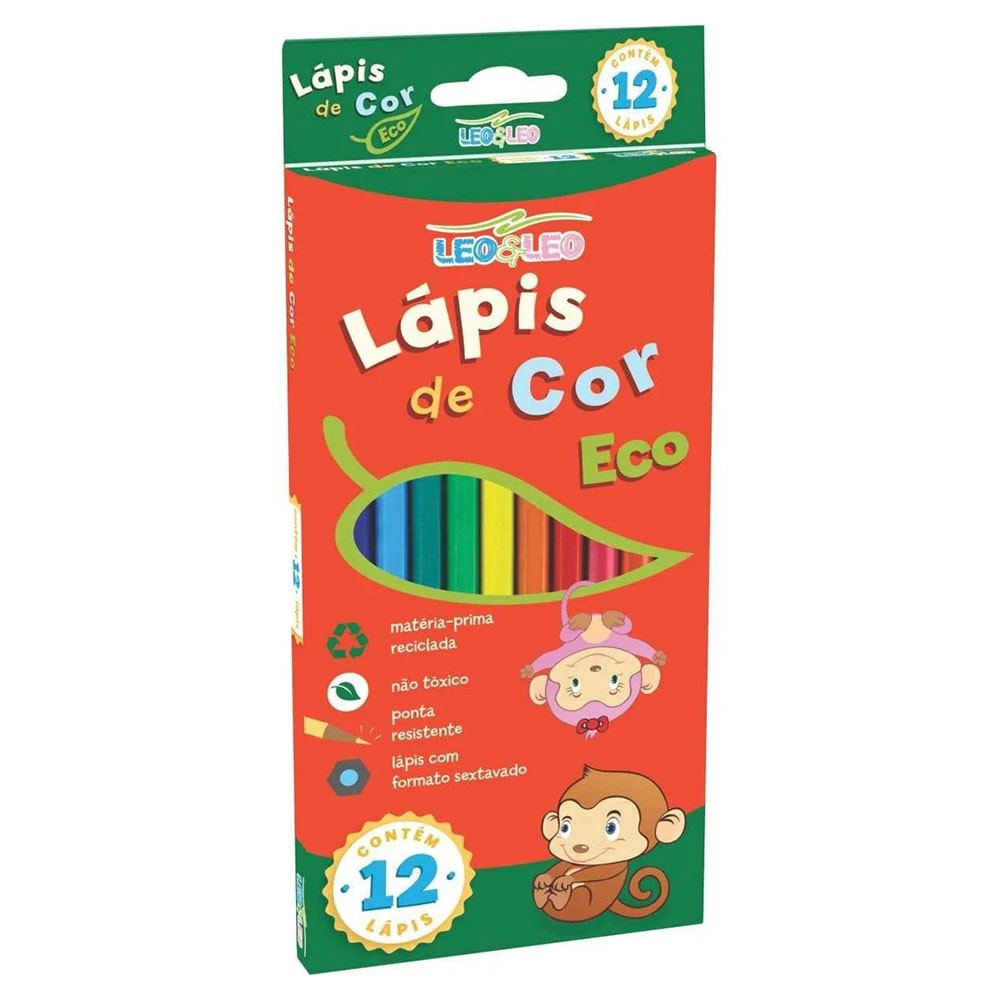 Lápis de Cor Eco 12 Cores Leo e Leo