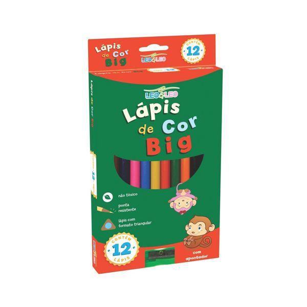 Lápis de Cor Big 17,5cm 12 Cores com Apontador Leo e Leo   - INK House