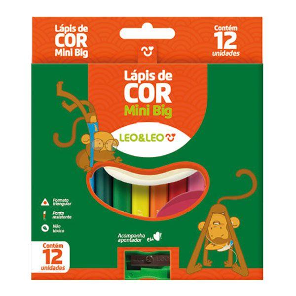 Lápis de Cor Mini Big Triangular 12 Cores c/ Apontador Leo e Leo