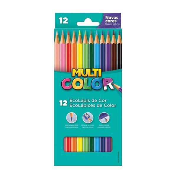 Lápis de Cor Sextavado 12 Cores Multicolor  - INK House