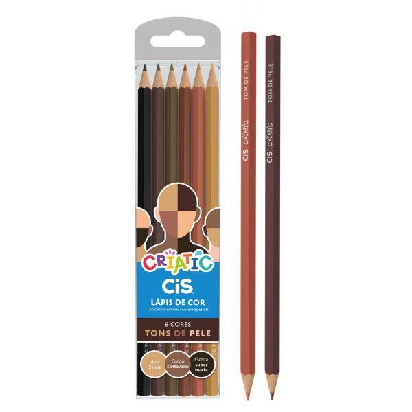 Lápis de Cor Tons de Pele 6 Cores Criatic Cis
