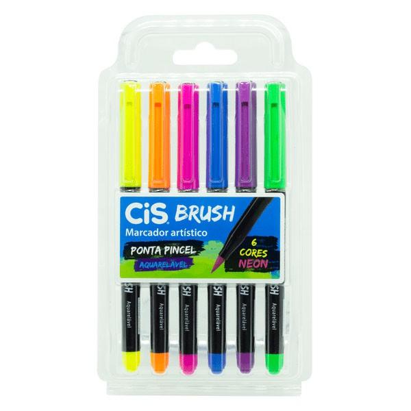 Marcador Artístico Brush Aquarelável 6 Cores Neon Cis