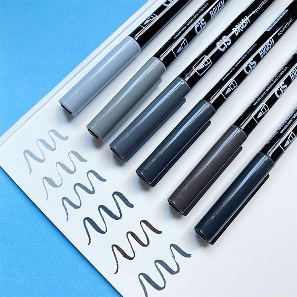 Marcador Artístico Brush Aquarelável 6 Tons de Cinza Cis
