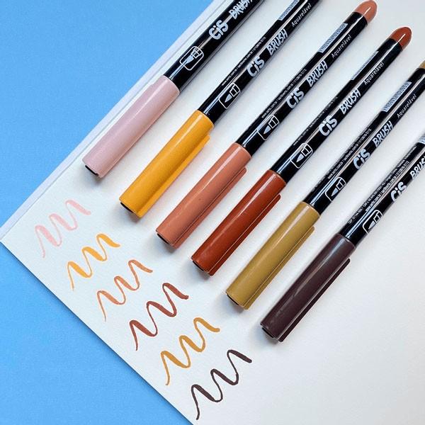 Marcador Artístico Brush Aquarelável 6 Tons de Pele Cis  - INK House