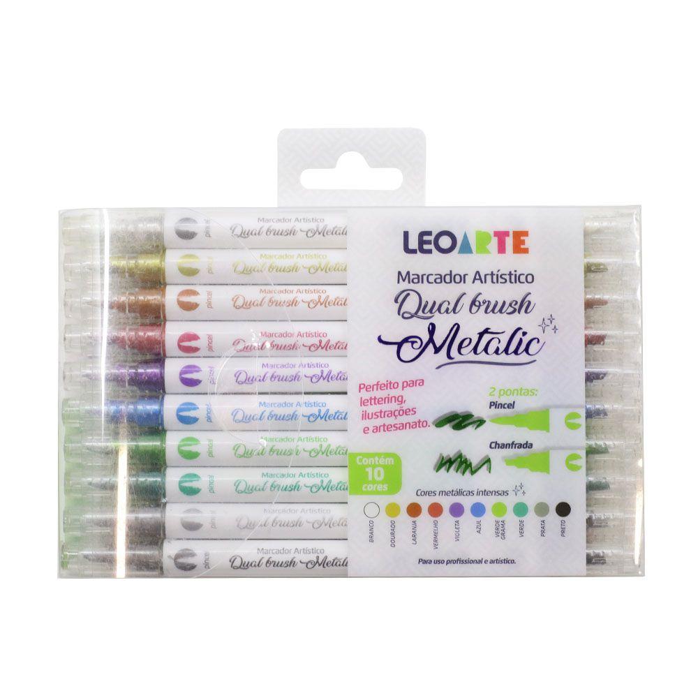 Marcador Artístico Dual Brush Metalic 10 Cores Leoarte  - INK House
