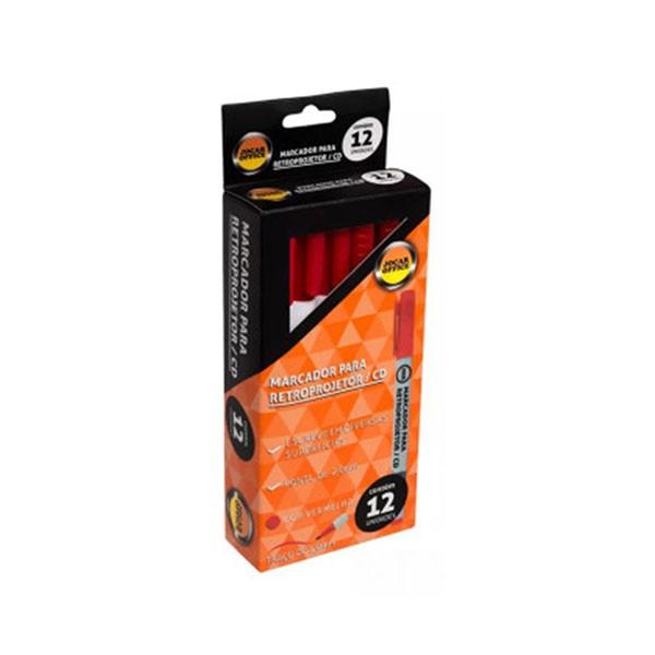 Marcador Retroprojetor CD Vermelho 12 Unidades Jocar Office  - INK House