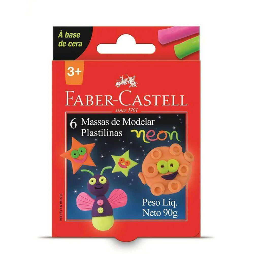 Massa de Modelar Neon 6 Cores 90g Faber Castell  - INK House