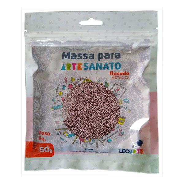 Massa para Artesanato Flocada Metálica Lilás 50g Leonora