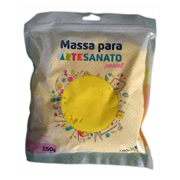 Massa para Artesanato Lisa Amarelo Pastel 250g Leonora