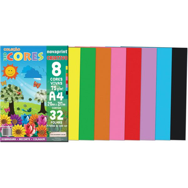 Papel Eco Cores Criativo A4 75g 32 Folhas Nova Print