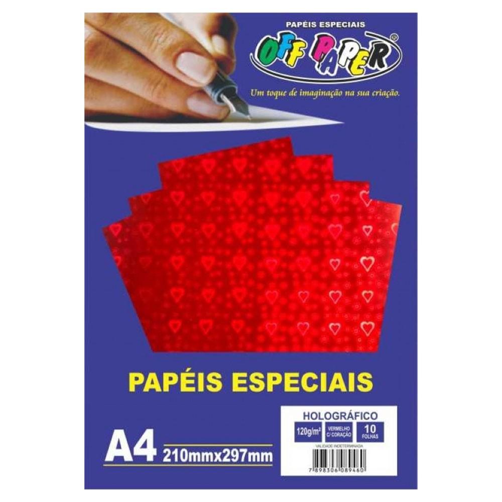Papel Holográfico A4 120g Vermelho com Coração 10 folhas Off Paper