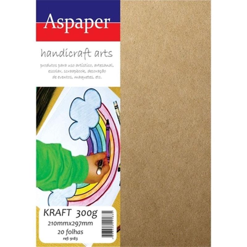 Papel Kraft A4 300g Natural 20 folhas Aspaper