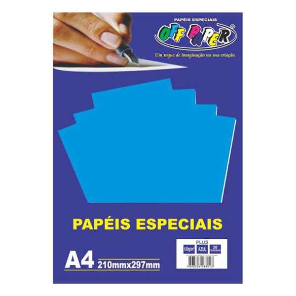 Papel Plus A4 120g Azul 20 folhas Off Paper  - INK House