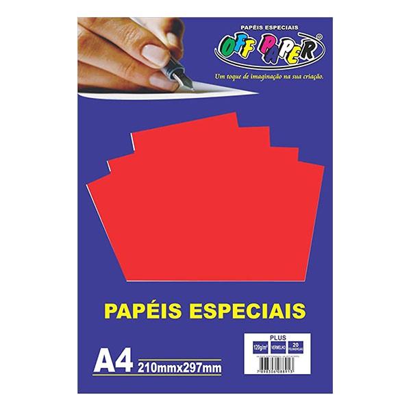 Papel Plus A4 120g Vermelho 20 folhas Off Paper