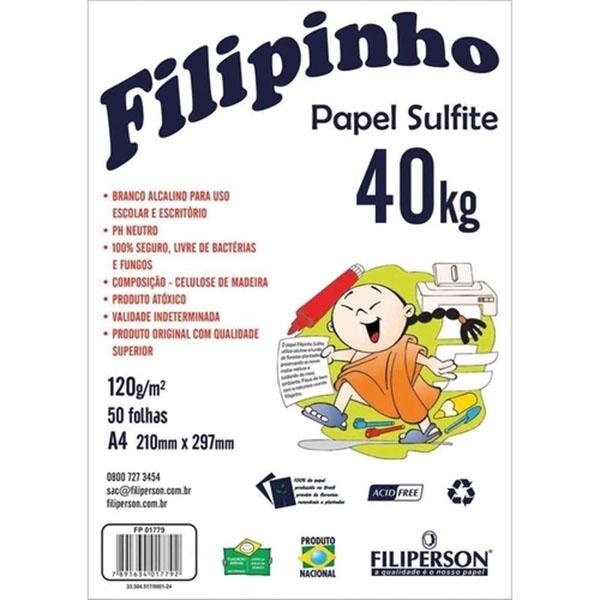 Papel Sulfite A4 120g 50 Folhas Branco Filipinho