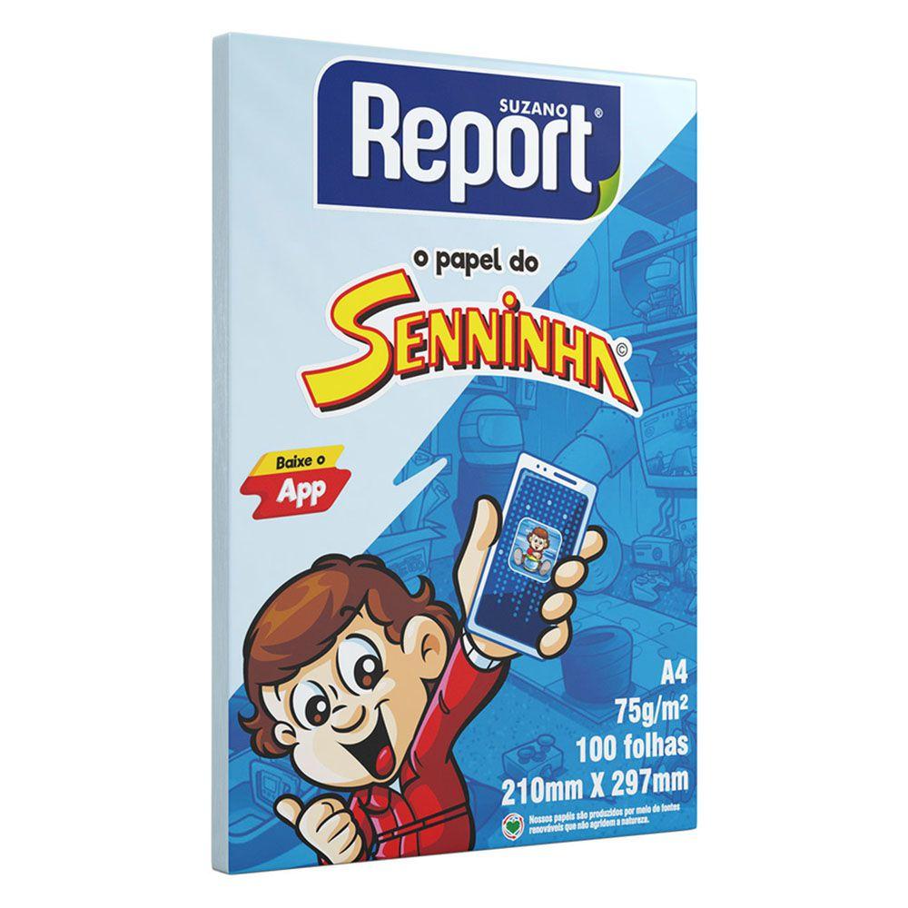 Papel Sulfite A4 75g 100 Folhas Senninha Azul Report