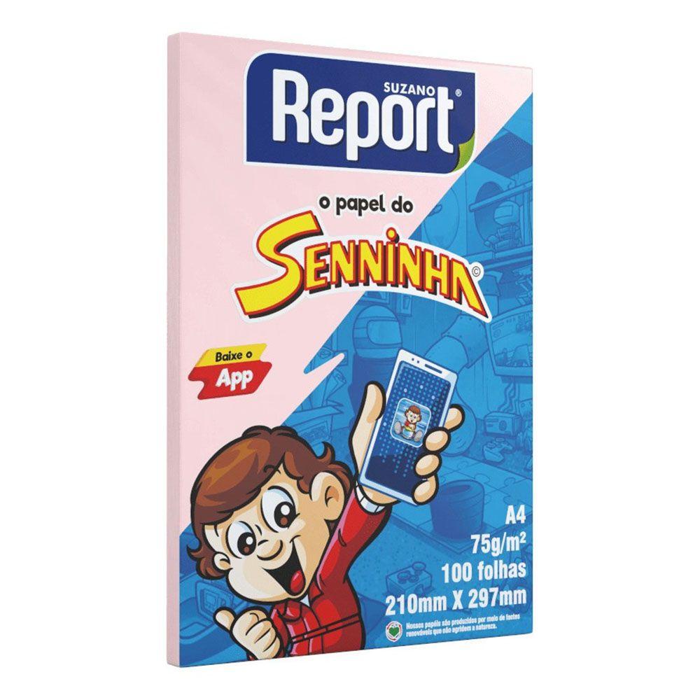 Papel Sulfite A4 75g 100 Folhas Senninha Rosa Report  - INK House