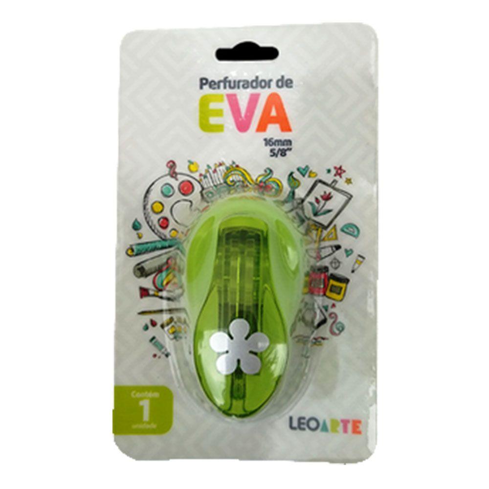 Perfurador de EVA 16mm Folha Verde Leoarte