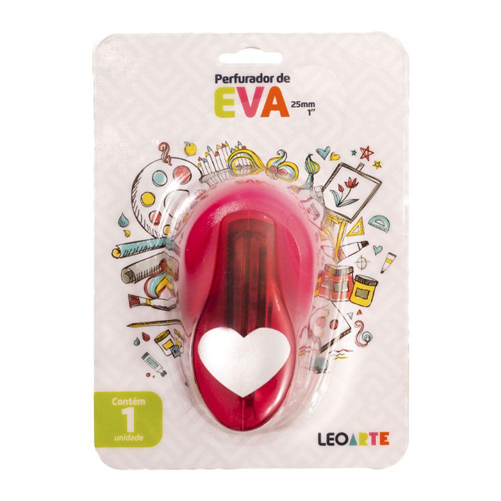 Perfurador de EVA 25mm Coração Rosa Leoarte  - INK House