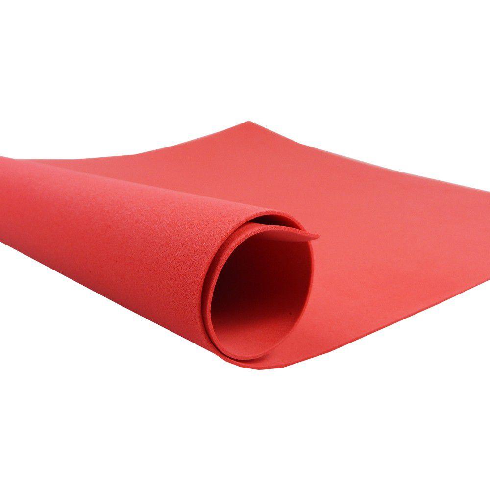 Placa de EVA Liso Vermelho 2mm 40cm x 60cm Leo e Leo  - INK House