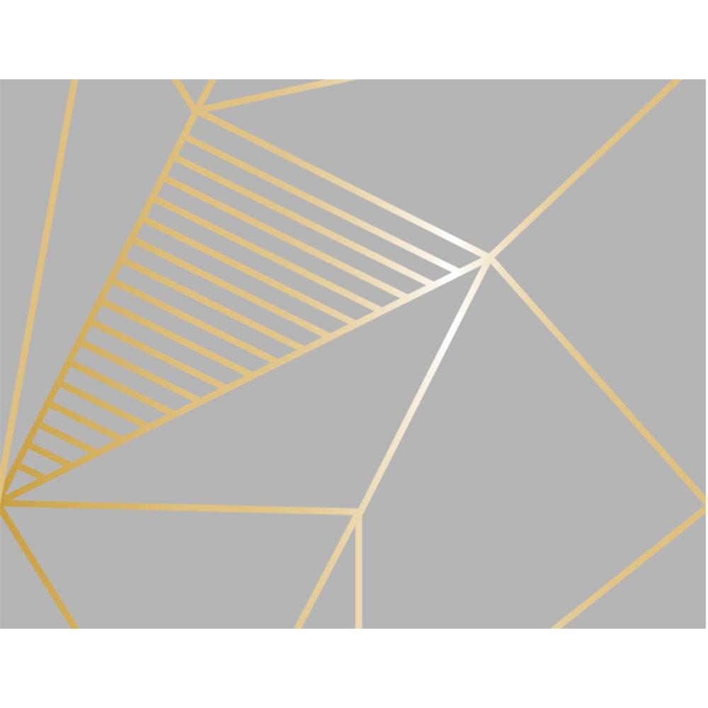 Plástico Adesivo 45cm x 10m Geométrico Chumbo Gold Leotack  - INK House