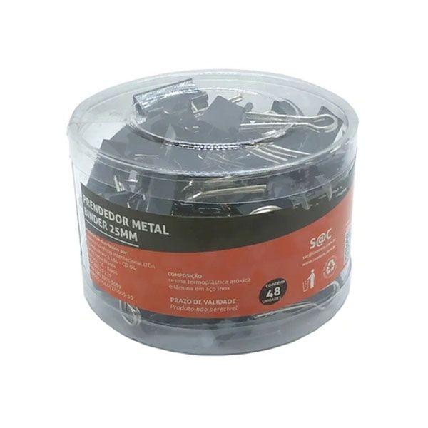 Prendedor Metal Binder Preto 25mm com 48 Unidades Jocar Office  - INK House