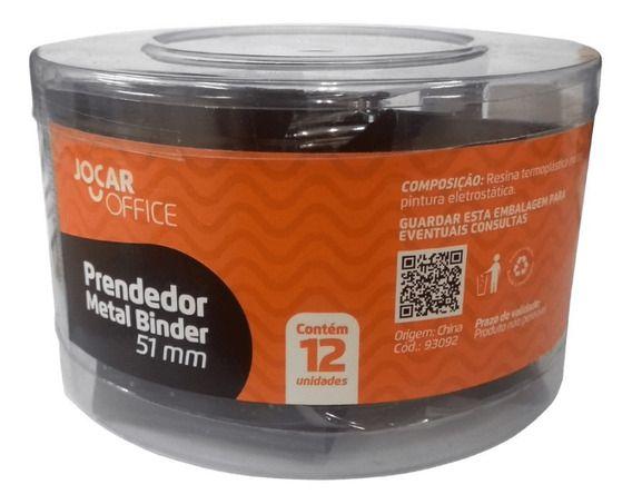 Prendedor Metal Binder Preto 51mm com 12 Unidades Jocar Office  - INK House