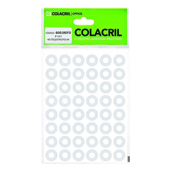 Reforço Adesivo Redondo 14.5mm Transparente 6 Folhas Colacril