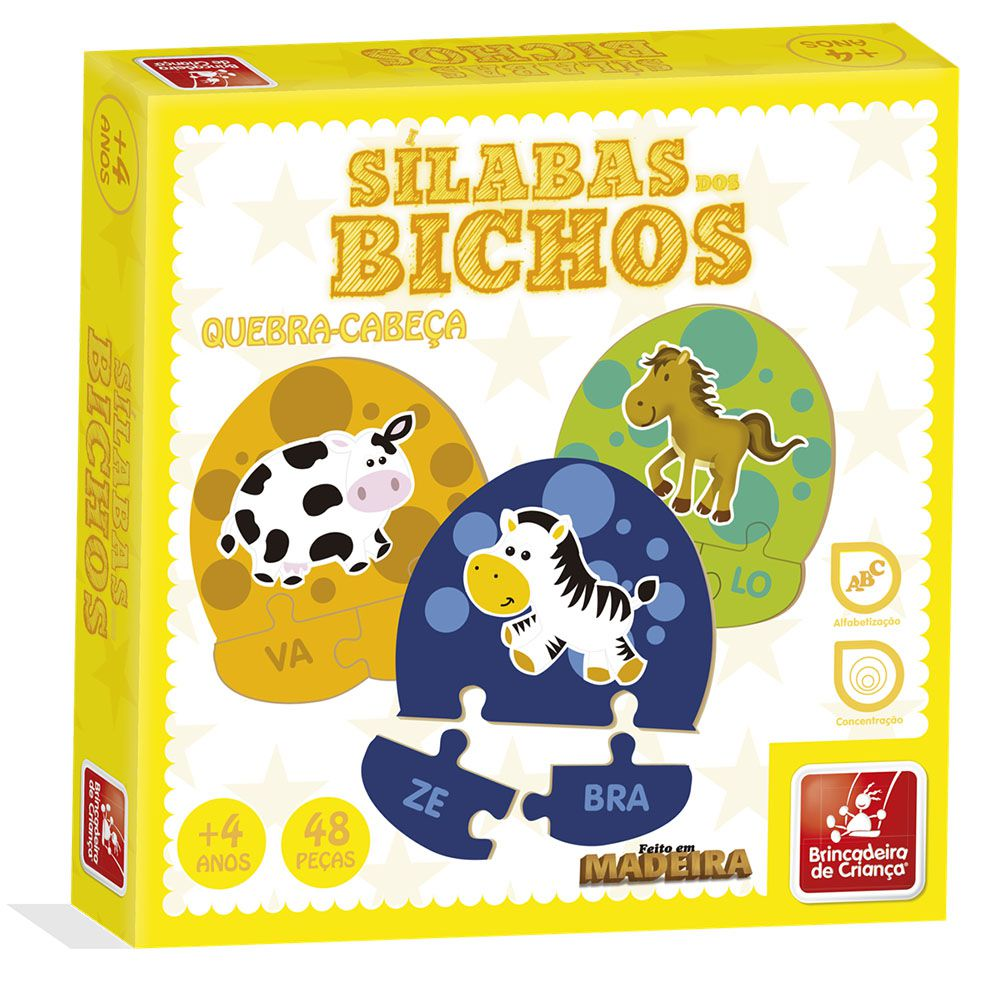 Sílabas dos Bichos Brinquedo Educativo Brincadeira de Criança  - INK House