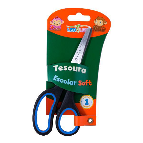 Tesoura Escolar Soft Leo e Leo - Azul  - INK House