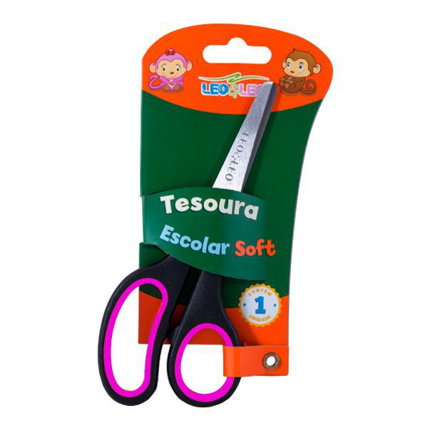 Tesoura Escolar Soft Leo e Leo - Rosa  - INK House