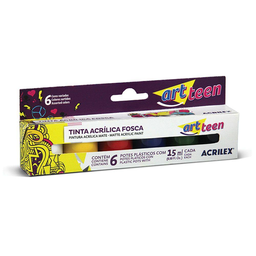 Tinta Acrílica Fosca Art Teen 6 Cores Acrilex