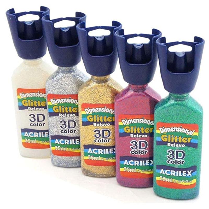 Tinta Dimensional 3D Glitter 6 Cores Acrilex