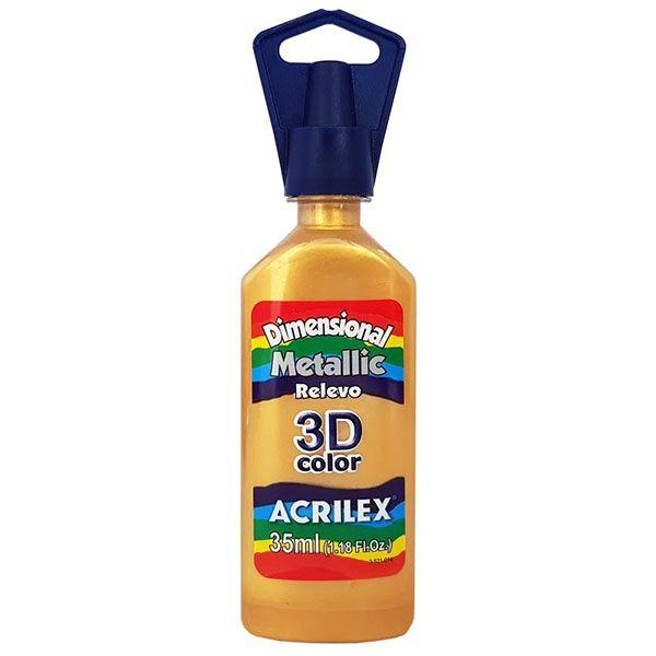 Tinta Dimensional Metallic Relevo 3D 35ml Ouro Acrilex