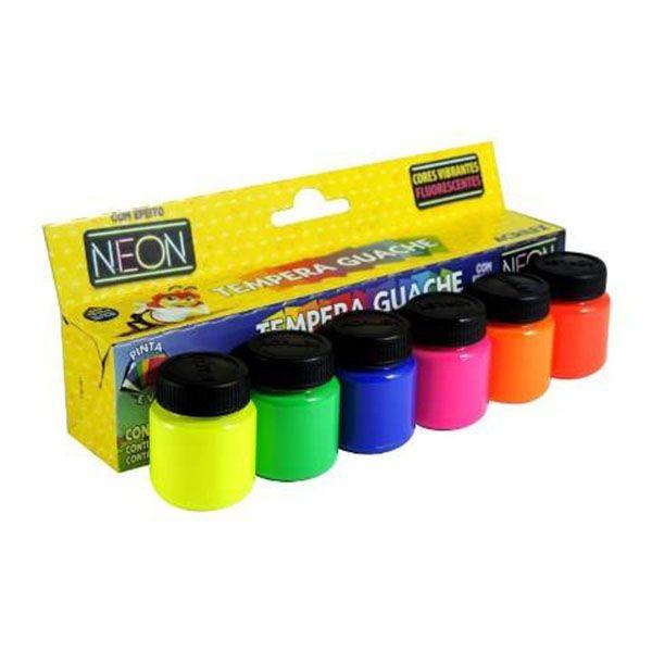 Tinta Guache 15ml com 6 Cores Neon Acrilex