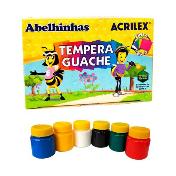 Tinta Guache 15ml com 6 Cores Acrilex
