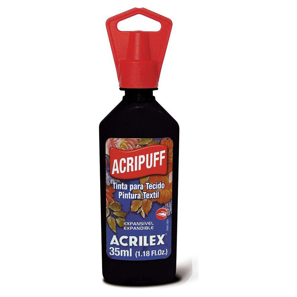 Tinta para Tecido Expansível Acripuff Preto 35ml Acrilex  - INK House