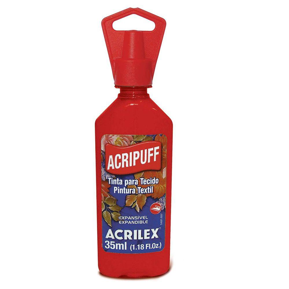 Tinta para Tecido Expansível Acripuff Vermelho Fogo 35ml Acrilex