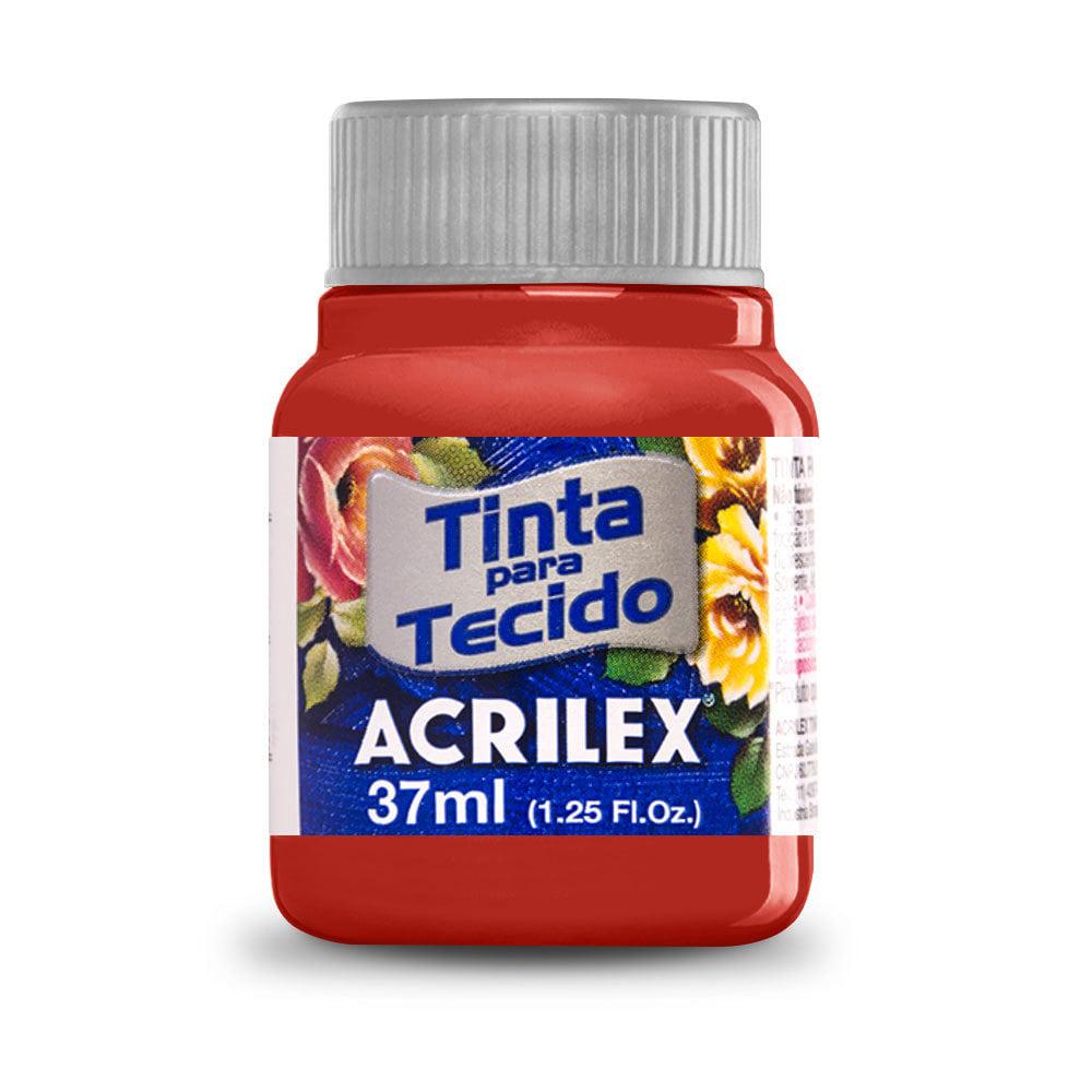 Tinta para Tecido Vermelho Escarlate 37ml Acrilex