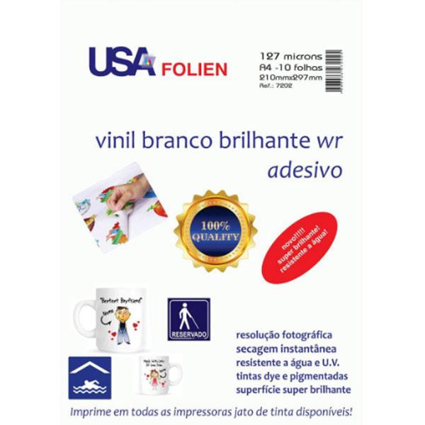 Vinil Branco Brilhante Adesivo A4 10 folhas Usa Folien