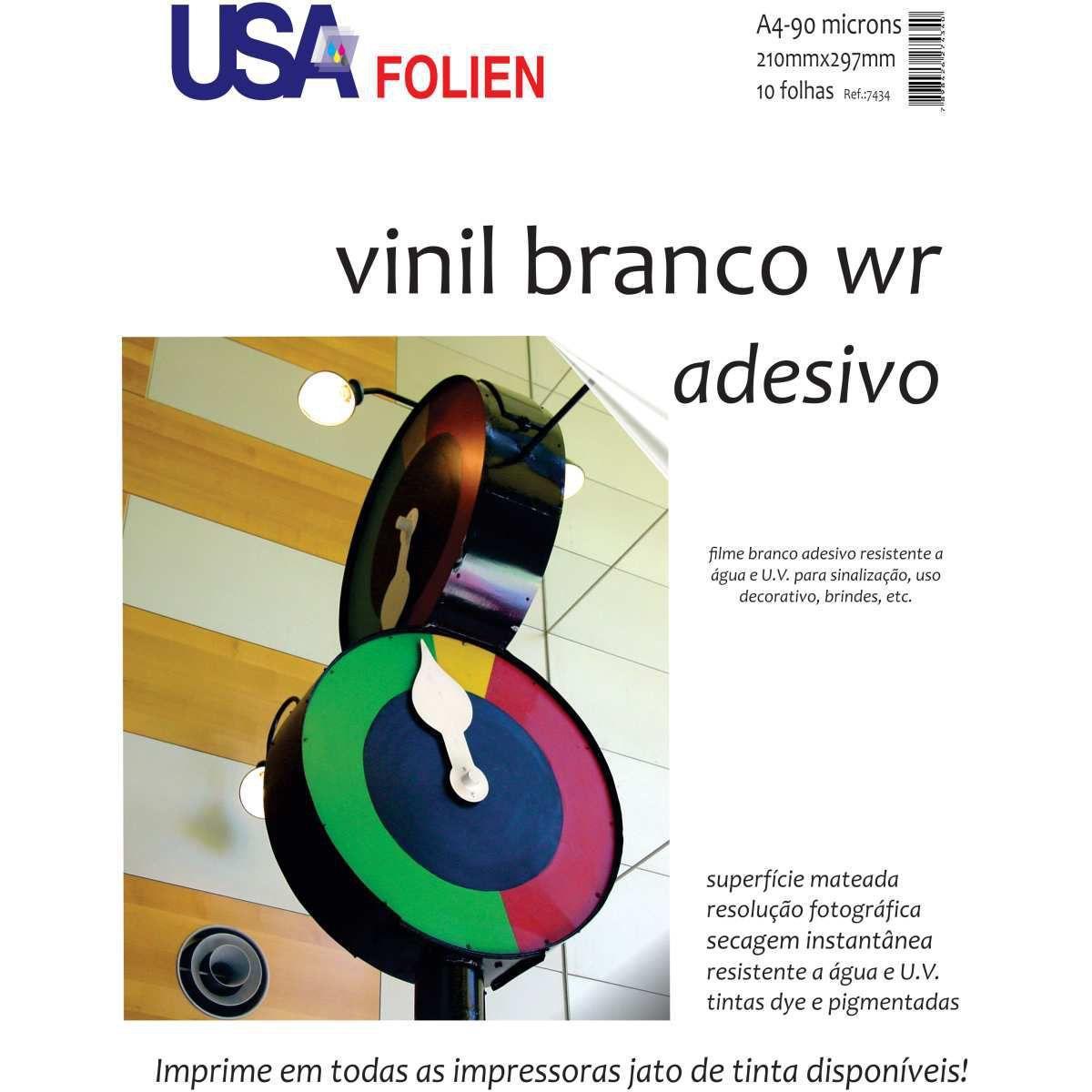 Vinil Branco Matte Adesivo A4 10 folhas Usa Folien