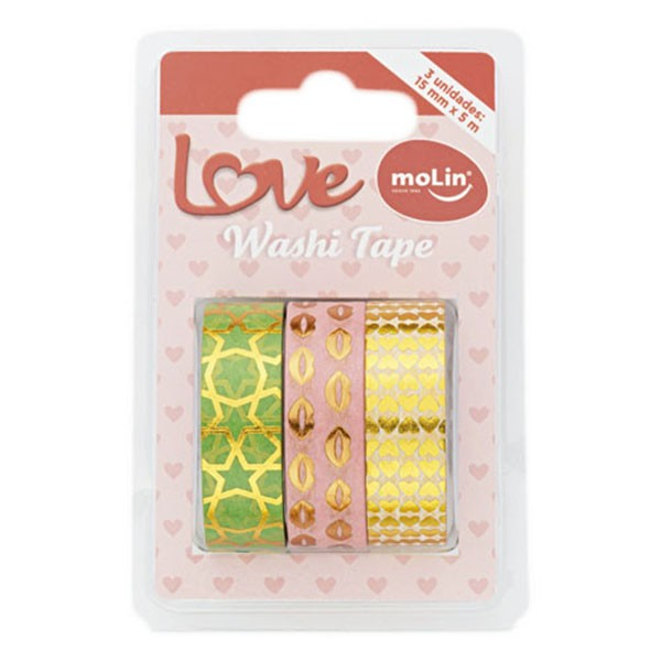 Washi Tape 15mm x 5m 3 Unidades Love 2 Molin