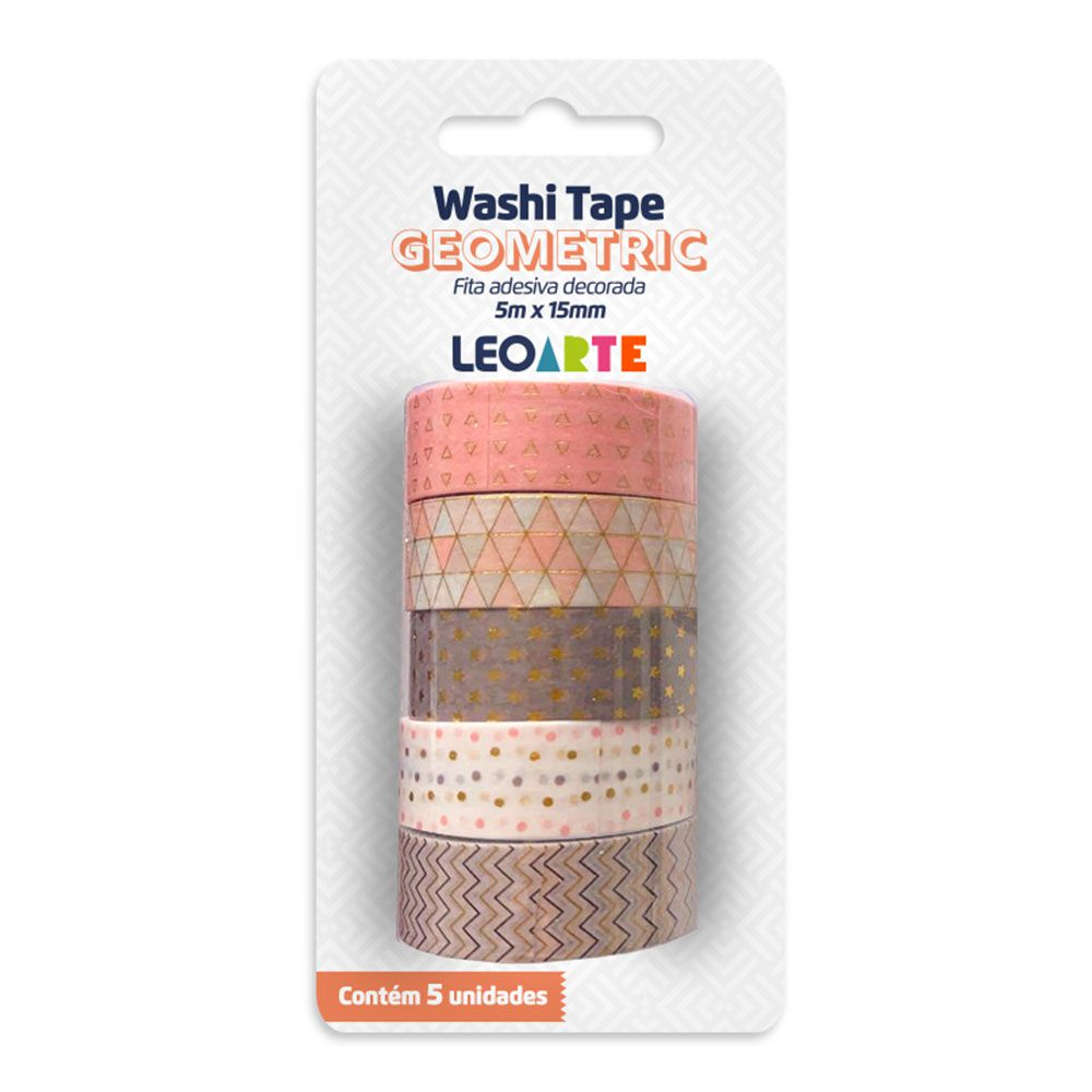 Washi Tape Geometric 5m x 15mm 5 Unidades Leoarte